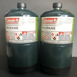 Coleman Propane Cylinder 2 Pack 16 oz 1lb Camping Gas Grill BBQ Heater Made USA $29.95