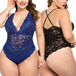 Sexy Lingerie Plus Size Womens Lace Teddy Babydoll Bodysuit Nightwear Jumpsuit $9.99