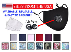 FROM USA Reusable Cotton Face Mask Protection Washable Breathable Vent Filter $9.95