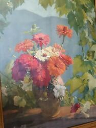 Old oil painting Print {Many Benner French 1873m 1965} Zinnias Framed Rare $80.00