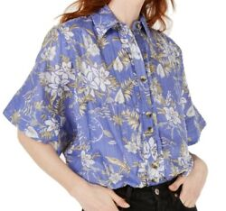 Free People Women Top Periwinkle Blue Size Medium M Button Down Floral $108 #454