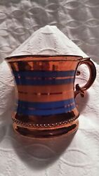VTG Copper Lusterware Cup w Handle  Blue Band 3