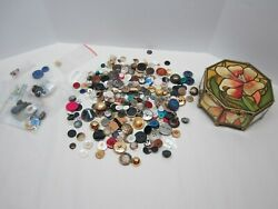 Vintage Super Radiance Brass Glass Octagon Box with Loads of Vintage Buttons $40.00