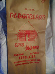 1976 BADGERLAND FERTILIZER INC.BAG UNUSEDCrib Bustergrand marsh wisconsinfarm $19.60