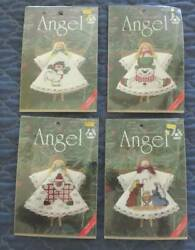 NEW Lot Vintage Kit Counted CROSS STITCH Clothespin ANGEL Craft Christmas Decor $16.13