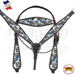 C--SET Western Horse Headstall Breast Collar Tack American Leather Skull Brown $109.95
