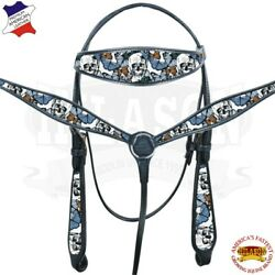 C--SET Western Horse Headstall Breast Collar Tack American Leather Skull Black $109.95