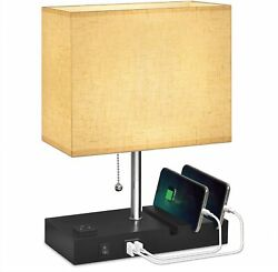 USB Bedside Lamp With Phone StandsHansang Table Lamp Dual Charging PortsNights $33.99