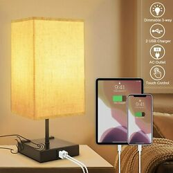 3 Way Dimmable Touch Control Table Lamp with 2 USB Charging Ports2 AC Outlets $33.99