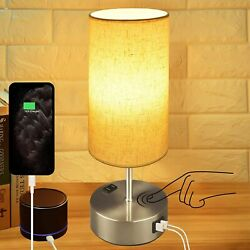 Touch Control Bedside Lamp 3 Way Dimmable Table Lamp with Dual USB $29.99