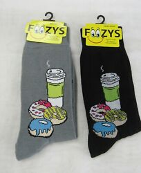 2 Pairs Foozys Mens Fun Novelty Socks Size 10 13 Coffee amp; Donuts Dad Father Gift $9.95