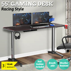 55'' Black Gaming Ergonomic Computer Desk Polygon Legs Design Home Office New US $199.99