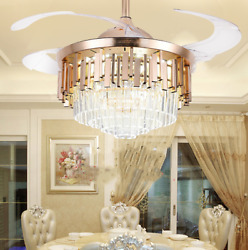 42quot; Remote Invisible Blades LED Chandeliers Modern Crystals Ceiling Fan Lights $189.89