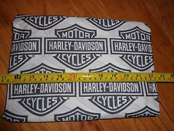 38 Wide x 12 Long Harley Davidson Fabric BlackGray White Shield - New! $10.99