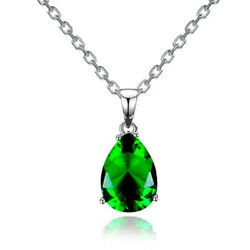 Fashion Lady Silver Water Drop Green Zircon Pendant Necklace Classic Jewelry