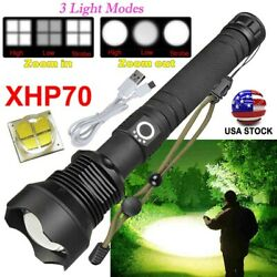 USA 350000 Lumens Zoom XHP70 LED Flashlight Super Bright USB Rechargeable Torch $22.62