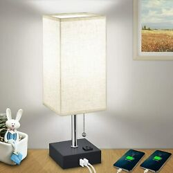 USB Bedside Table Lamps Modern Nightstand Lamp with Charging Ports AC Outlet $29.99