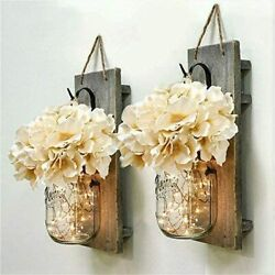 Mason Jar Wall Decor Sconces Rustic Hanging LED Fairy Lights Farmhouse Home New $26.99