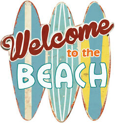 Welcome to the Beach Metal Sign 12quot; Bar Sign Pool Decor Retro Decor $15.00