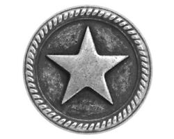 2 pcs. Roped Star 11 16 inch 18 mm Metal Buttons Antique Silver Color $2.25