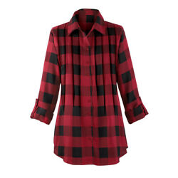 Buffalo Plaid Design Pintuck Tunic Top with Roll Tab Sleeves and Button Front $19.99