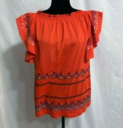 Medium Red Orange Boho For the Republic Embroidered Flutter Sleeve Top $13.49