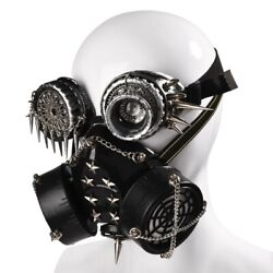 Unisex Halloween Mask Costume Steampunk Vintage Cosplay Props With Glasses $46.74