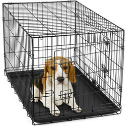 30quot; Dog Crate Folding Wire Metal Cage Kennel With Tray Pan and Divider $27.99