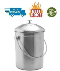 Epica Stainless Steel Compost Bin 1.3 Gallon Includes Charcoal Filter New $45.09