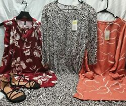 3 NWT SUPER CUTE DRESSES FOR THE OFFICE WOMEN#x27;S LG AND 1 PAIR OF SANDALS SIZE 8 $29.99