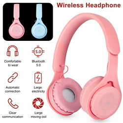 Bluetooth 5.0 Headset Wireless Stereo Girls Headphones Over Ear Noise Cancelling $13.97