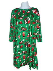 AGB Dress Womens Holiday Christmas Dress New 3 4 Sleeve Green Dog Pattern DR3 $6.99