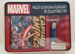 Captain America Marvel Comics Bifold Wallet w Flashlight in Collectible Tin NEW $12.74