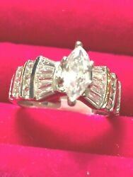 STUNNING COCKTAIL Women#x27;s Ring MARQUISE amp; BAGUETTES CZAAA in 18kt white gold ep $20.00