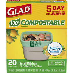 Glad OdorShield 2.6 gal. Compost Bags Quick Tie 20 pk $13.42