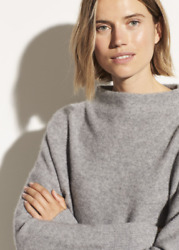 NWOT $385 Vince Funnel Neck Boiled Cashmere Sweater in Medium Gray; XS $283.58