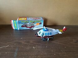 Vintage MTU HR 822 Wind Up Tin Police Helicopter Toy with Box $24.99