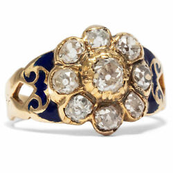 Antique Biedermeier Ring Um 1850: 1.45 CT Old Mine Cut Diamonds Gold Victorian $3528.92