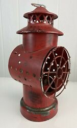 Decorative Lamp Red Rustic Farm decoration vintage Made in Hong Kong $16.99