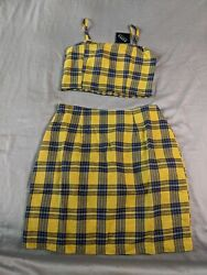 Zaful Women#x27;s Smocked Back Cami Plaid Skirt Set NB7 Multicolor Small NWT $16.09