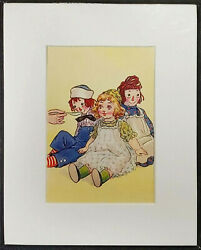 VINTAGE ILLUSTRATION RAGGEDY ANNE ANDY SOUP TIME JOHNNY GRUELLE 1939 MATTED $6.95