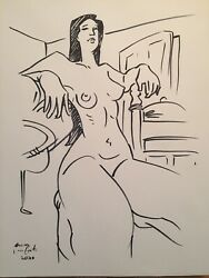 """Nude female drawing Ink Original Signed 9""""x12"""" $45.00"""