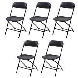 Hot Lot5 Plastic Commercial Wedding Quality Stackable Folding Chairs Party Black