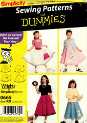 Simplicity 0665 Girls Poodle Skirt Costumes Sewing Pattern Uncut Size 7 14 $7.99