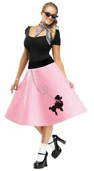 50s Pink Poodle Skirt ADULT Womens Costume NEW 50s Sock Hop $12.20