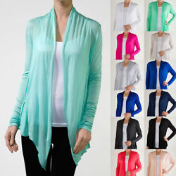 Women#x27;s Long Sleeve Open front Fly away Pocket Very Thin Cardigan Plus S 3XL $9.99