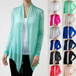 Women#x27;s Long Sleeve Open front Fly away Pocket Very Thin Cardigan Plus S 3XL $10.99