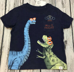 Baby Gap Boys 12 18 Months Navy Blue Dinosaur Hello Friend Shirt. Nwt $14.99