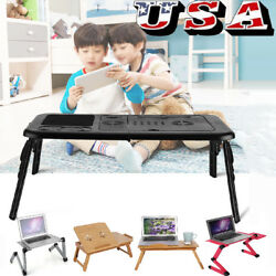 360° Adjustable foldable laptop Notebook Desk Table Fan Hole Stand Bed Tray $24.59