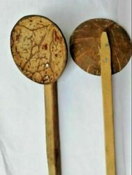 Two Coconut Shell Spoon Natural Kitchen Tools Equipment Ceylon Free Shipping $5.94